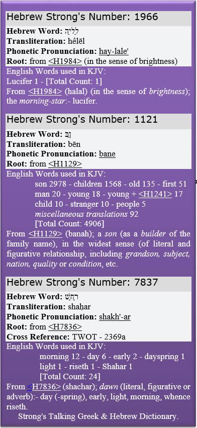 Strongs Helel Bin Shachar 1966